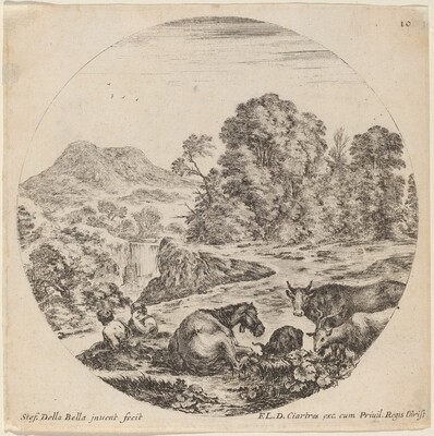 Landscape with Animals and Two Seated Shepherds