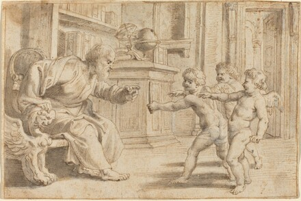 Putti Testing a Man's Perception of Depth