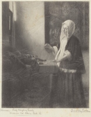 Woman Weighing Pearls