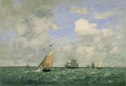 Ships and Sailing Boats Leaving Le Havre