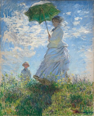 The Promenade woman with a parasol various sizes Canvas Print by Claude Monet