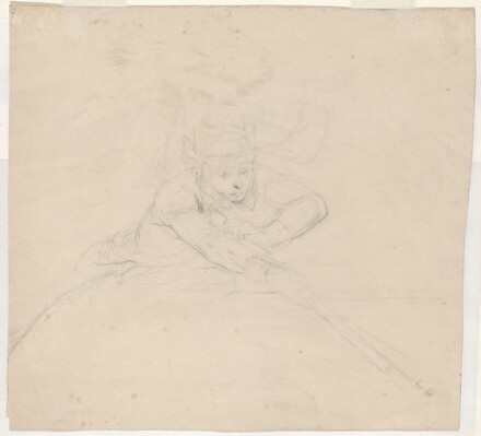 Study of Half-Length Figure with Pole [verso]