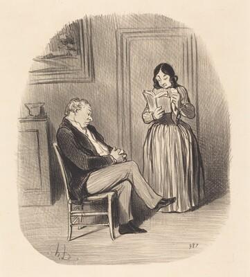Bourgeois se fesant lire, après diner, quelques chapitres...