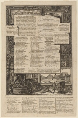 Catalogo delle Opere Date Finora Alla Lvce Da Gio Battista Piranesi