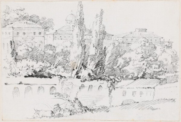 Walls of Rome with Santa Maria del Popolo in the Distance