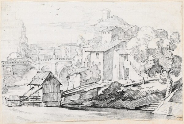 The Ponte Sant'Angelo and Houses on the East Bank of the Tiber