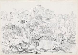 A Waterfall near a Hilltown in Italy