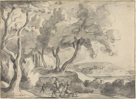 Horseman and Attendants at the Edge of a Wood