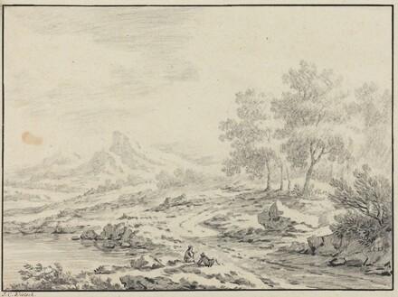 Two Men Resting near a Lake
