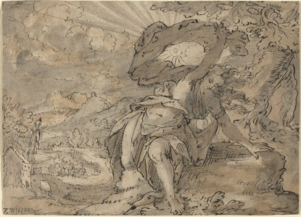 Allegorical Female Figure in a Landscape [recto]