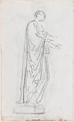 Statue of a Roman Woman (Female Deity?) Seen from the Side [verso]