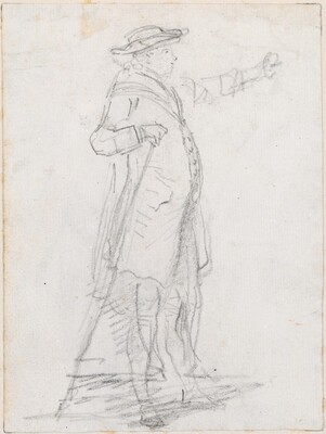 Man with a Walking Stick, Seen in Profile [recto]