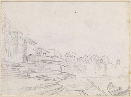 Buildings along a Riverside [verso]