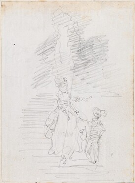 Woman and Smaller Male Figure on Grand Stairway [recto]