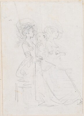 Two Seated Women with Male Figure between Them [verso]