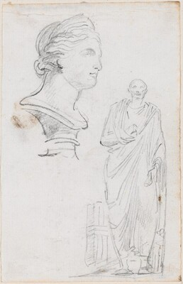 Bust of a Roman Woman and Statue of a Roman Man