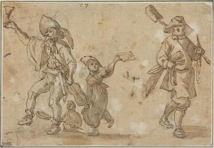 Three Revelers and a Gardner