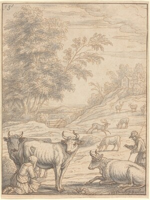 A Meadow with Cattle and Deer