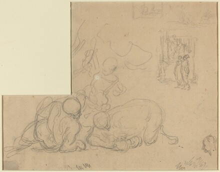 Sheet of Studies with Two Large Men on the Ground