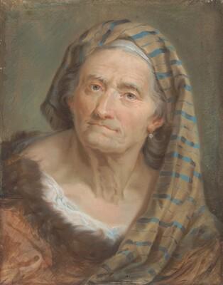 An Elderly Woman in a Striped Shawl
