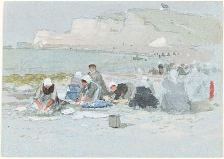 Washerwomen on the Beach at Etretat