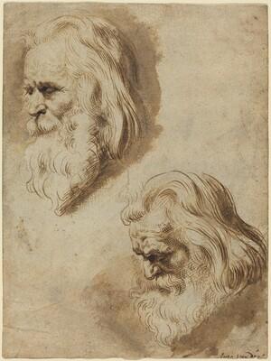Two Studies of an Elderly Man's Head
