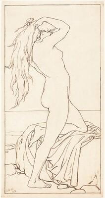 Standing Nude Binding Her Hair
