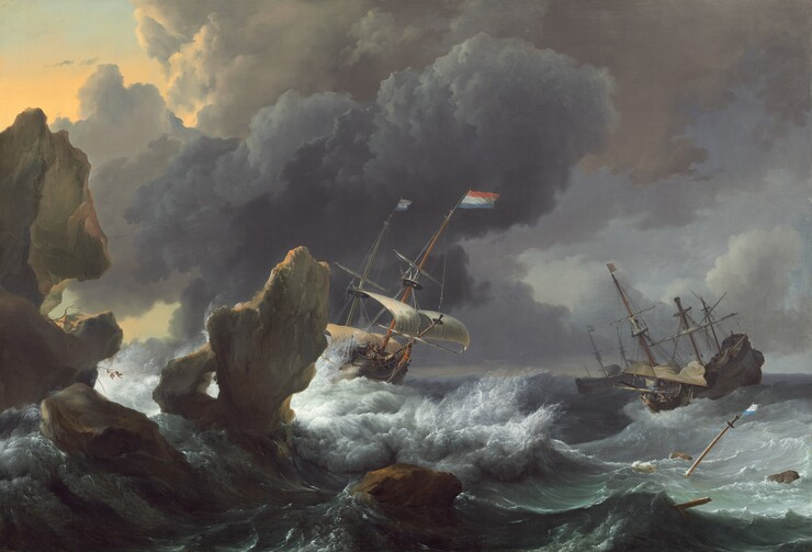 Ships in Distress off a Rocky Coast