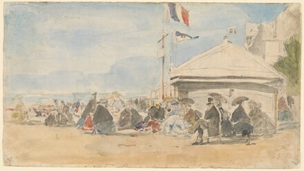 Beach House with Flags at Trouville