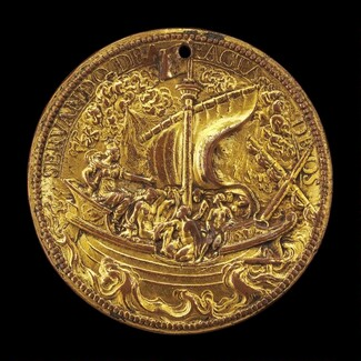 The Queen at the Helm of a Ship in Stormy Seas [reverse]