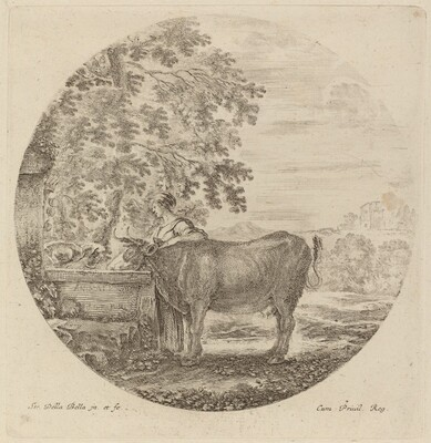 Cow and Young Shepherd at a Fountain