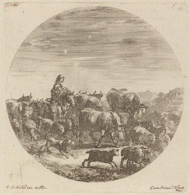 Peasant Seated on a Horse with Cows, Sheep, and Goats