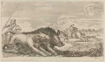 Boar Chased by a Dog