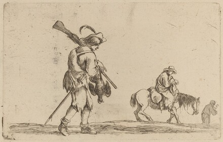 Soldier Holding a Fowl by the Feet