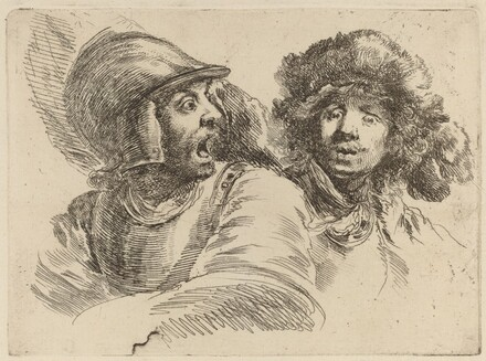 Frightened Soldier and Man with Fur Cap