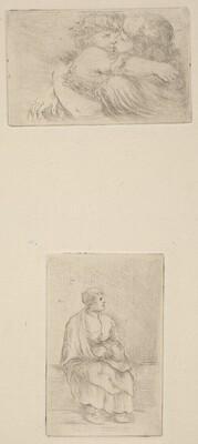 Two Children Embracing [upper half]; Seated Ecclesiast [lower half]