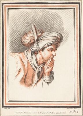 Head of a Man Wearing a Plumed Turban