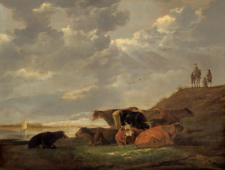 River Landscape with Cows