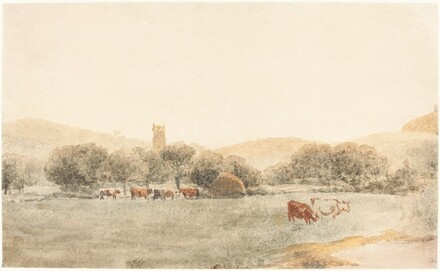 A Meadow with Cattle near Glastonbury