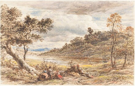 Travelers Resting by a Fallen Tree