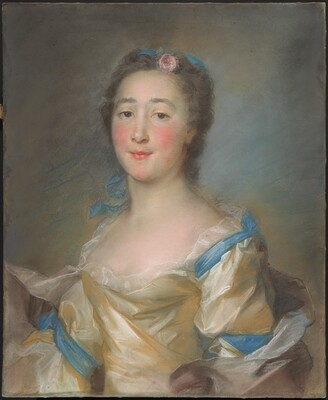 A Young Lady in a Yellow Gown with Blue Ribbons