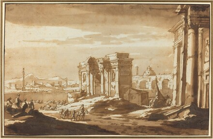 A Capriccio View of Roman Ruins along the Tiber