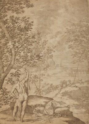 Apollo Standing in a River Landscape