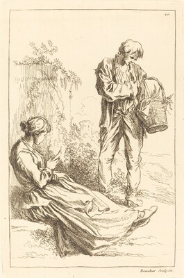 Seated Woman with Peasant Boy Holding a Basket