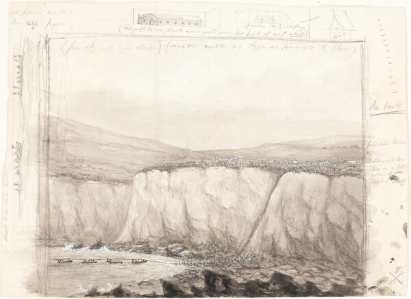 Sketch of Boats near a Cliff
