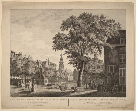 Gezicht van't Koningsplein naar de Reguliers of Munts-Tooren, Te Amsterdam