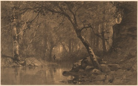 A Woodland River with a Fisherman