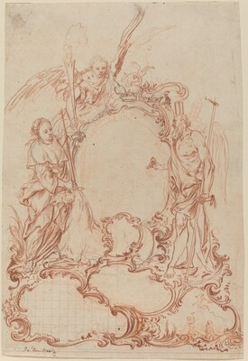Rococo Cartouche with Allegorical Figures