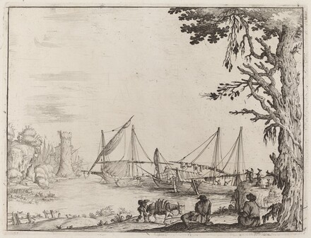 Seaport with Anchored Vessels