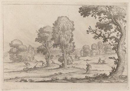 Men Fighting in a Landscape